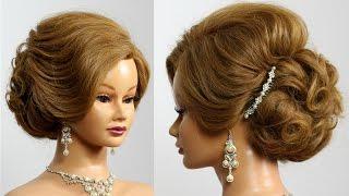 Hairstyle for long medium hair. Bridal  updo.