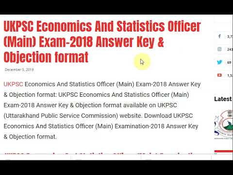 UKPSC Economics And Statistics Officer (Main) Exam-2018 Answer Key & Obj...