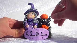 Boite musique manivelle La Famille Addams- Sorcière et son chat noir