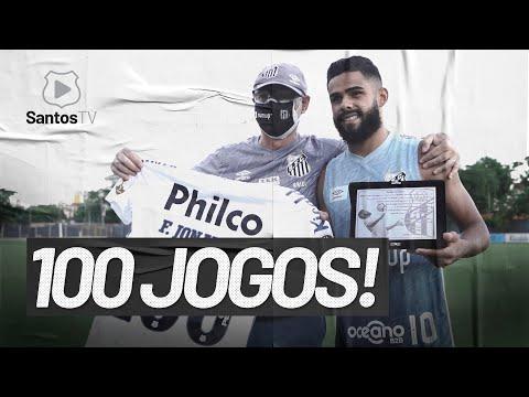 FELIPE JONATAN CELEBRA MARCA DE 100 JOGOS PELO SANTOS!