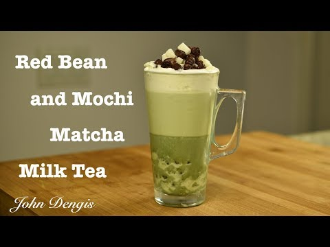 Red Bean and Mochi Matcha Milk Tea   John Dengis