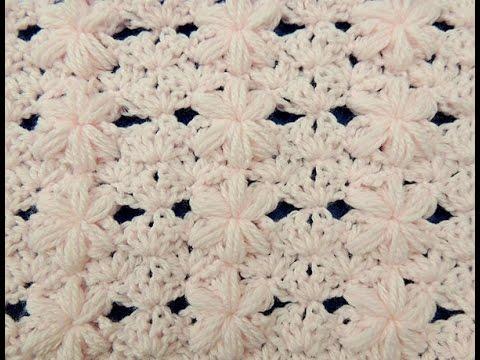 Crochet punto flor puff 3 para mantas youtube - Como hacer mantas de punto ...