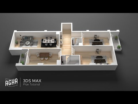 3Ds Max 2018 Tutorial 3D Plan Vray Render