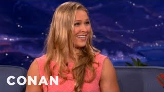 mma champ ronda rousey on sex before matches conan on tbs