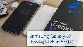 Samsung Galaxy S7 Unboxing und Lieferumfang deutsch 4k