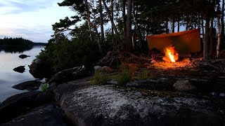 Infinite Islands - 3 dąys solo bushcraft, wild camping, northern wilderness, wool poncho, tarp