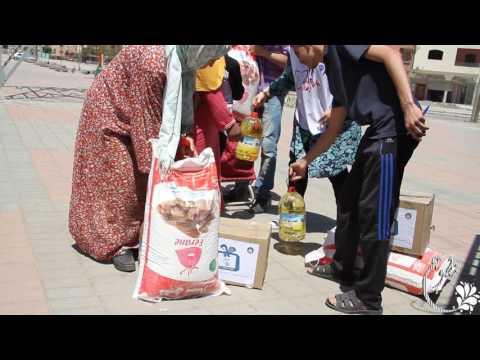 شباب قنيطري يوزع قفة رمضانية متكاملة