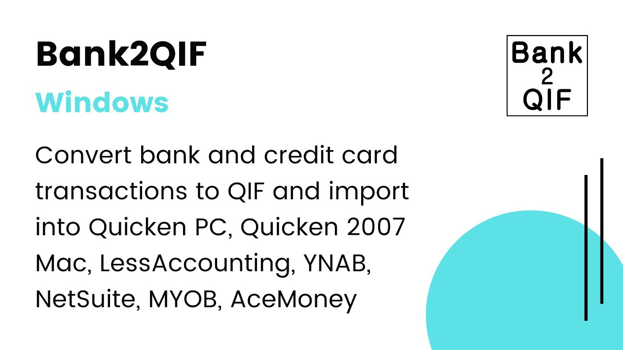 Bank2QIF(Win):Convert CSV/Excel/PDF/QFX/QIF/OFX/QBO to QIF & import into  your accounting soft [2019]