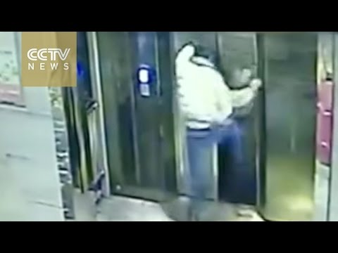 Man kicks elevator door, has a free fall