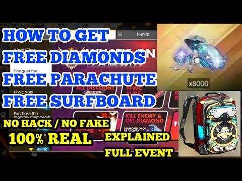 HOW TO GET FREE DIAMONDS, FREE SURFBOARD, FREE PARACHUTE ND GUN SKINS (100% REAL) !!GARENA FREE FIRE