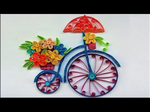Quilled Bicycle🚲 With Flower🌻 Bouquet HandMade Wall Art  Paper Quilling Art