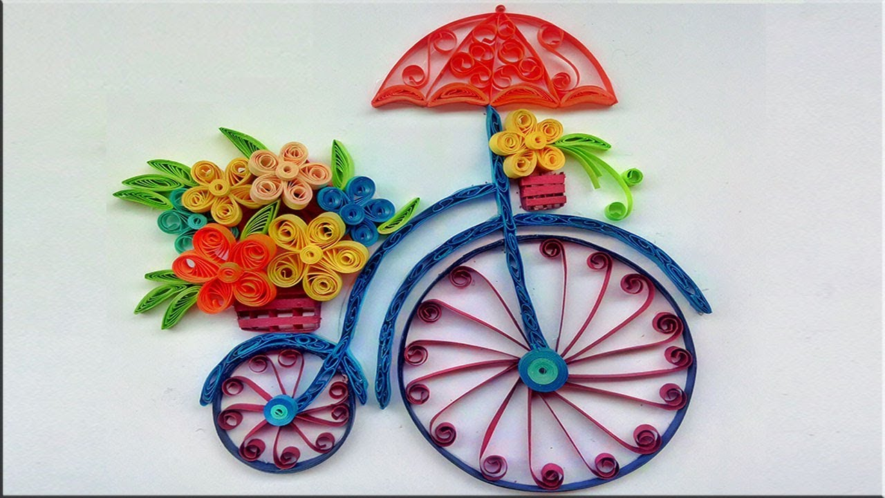 quilled bicycle with flower bouquet handmade wall art paper rh youtube com pictures of paper quilling art