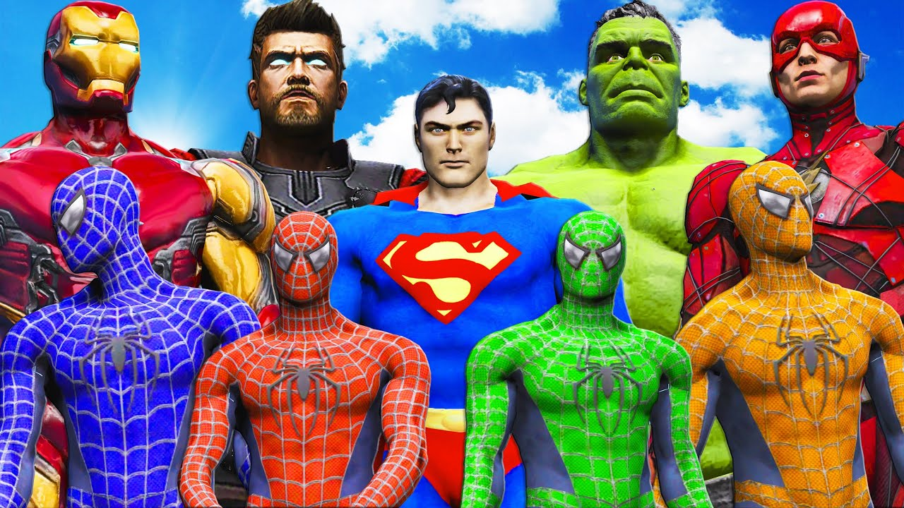 TEAM SPIDER-MAN VS SUPERHEROES - Iron Man, Hulk, Superman, Flash, Thor vs Spiderman