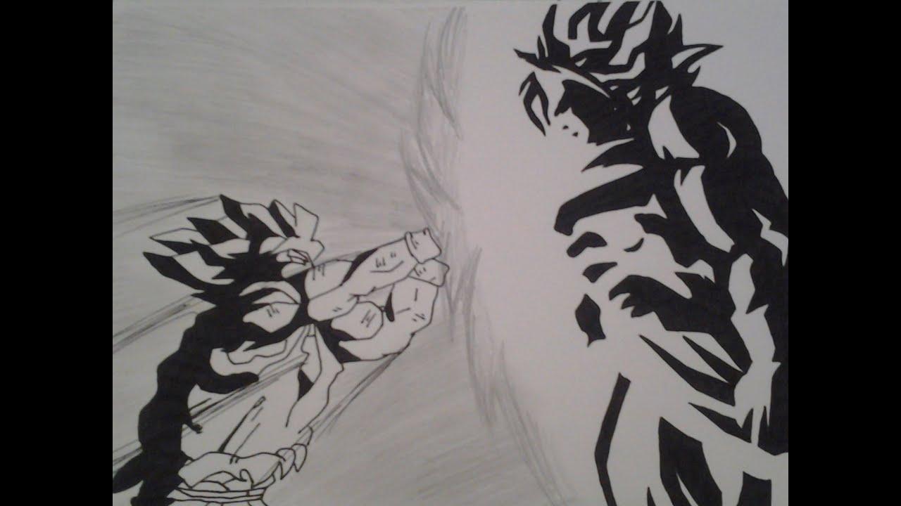 How to draw Goku vs Broly Step by Step - YouTube - photo#46