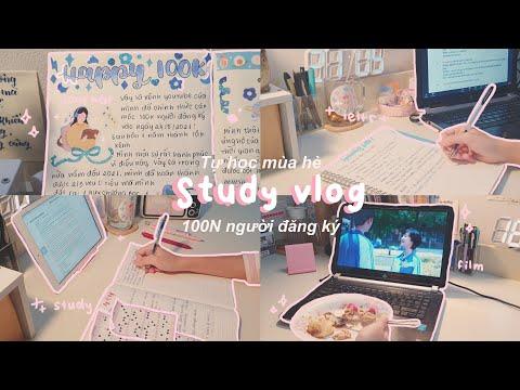 STUDY VLOG 🌻 TỰ HỌC MÙA HÈ CÙNG MÌNH // 100N người đăng ký, học hành, cày phim // jawonee