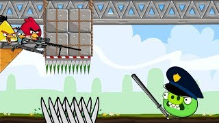 Crush Bad Piggies - PIGGIES GOT SQUASHED AND HUNTED BY 3 ANGRY BIRDS!