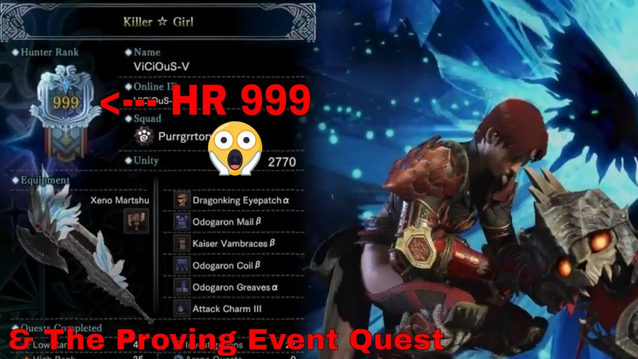 Monster Hunter: World - HR 999 & The Proving Quest Event *READ DESCRIPTION*