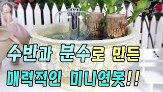 우산 분수와 원형 수반을 활용한 예쁜 실내 미니 연못 …