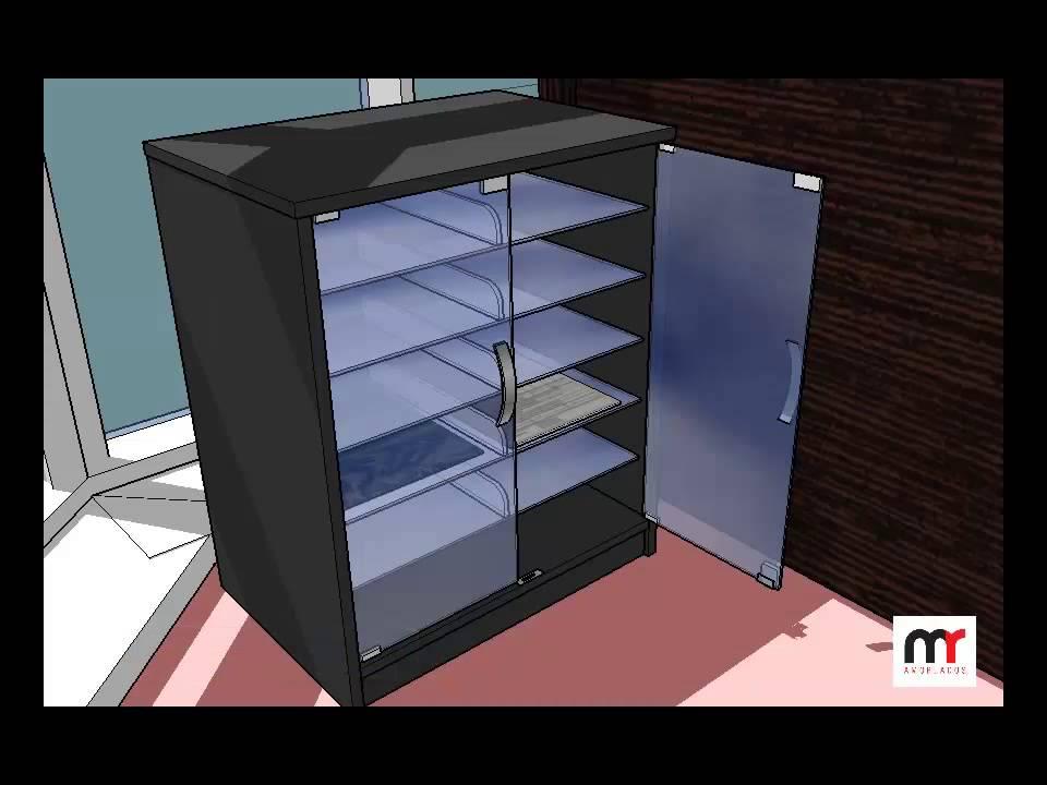 Credenza Con Puertas De Cristal : Modular en melamina con puertas y divisiones de vidrio youtube