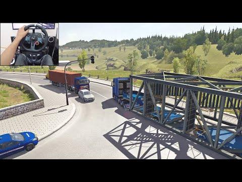 50-tonne Oversized Construction Staircase | Euro Truck Simulator 2 | Logitech G29 Gameplay