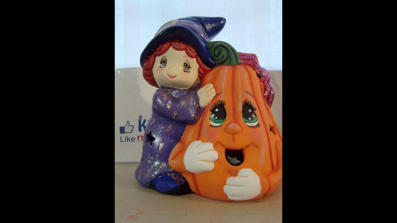 DIY Cómo pintar una bruja con calabaza en cerámica, para Halloween 1 ...