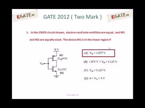 Problem on operating region of MOSFET - GATE ECE 2012 Solved paper (Electron Devices)