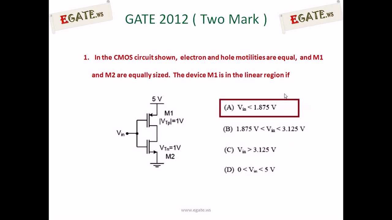 Problem on operating region of mosfet gate ece 2012 solved paper problem on operating region of mosfet gate ece 2012 solved paper electron devices youtube biocorpaavc Images