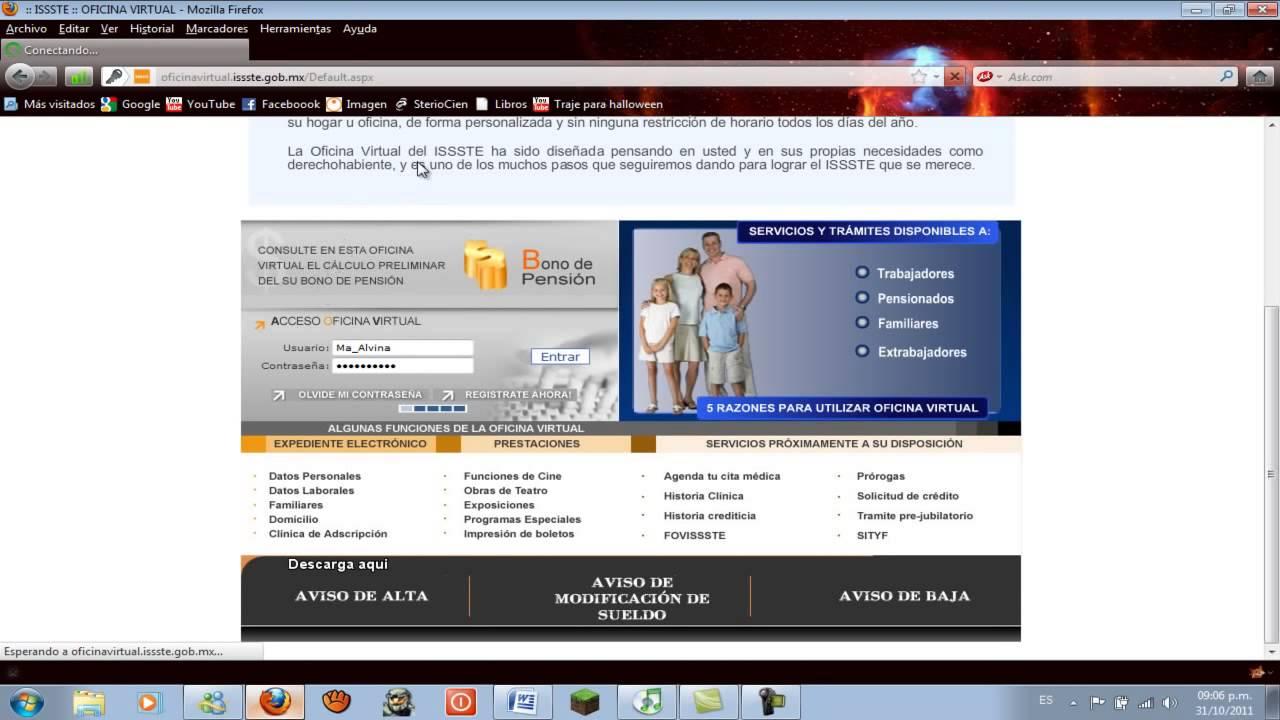Como registrarse en la oficina virtual del issste youtube for Oficina virtual del issste