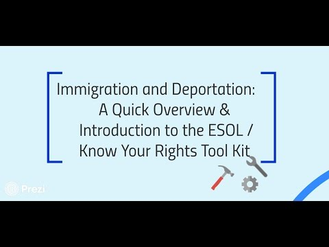 Immigration & Deportation: An Introduction to the ESOL Know Your Rights Tool Kit