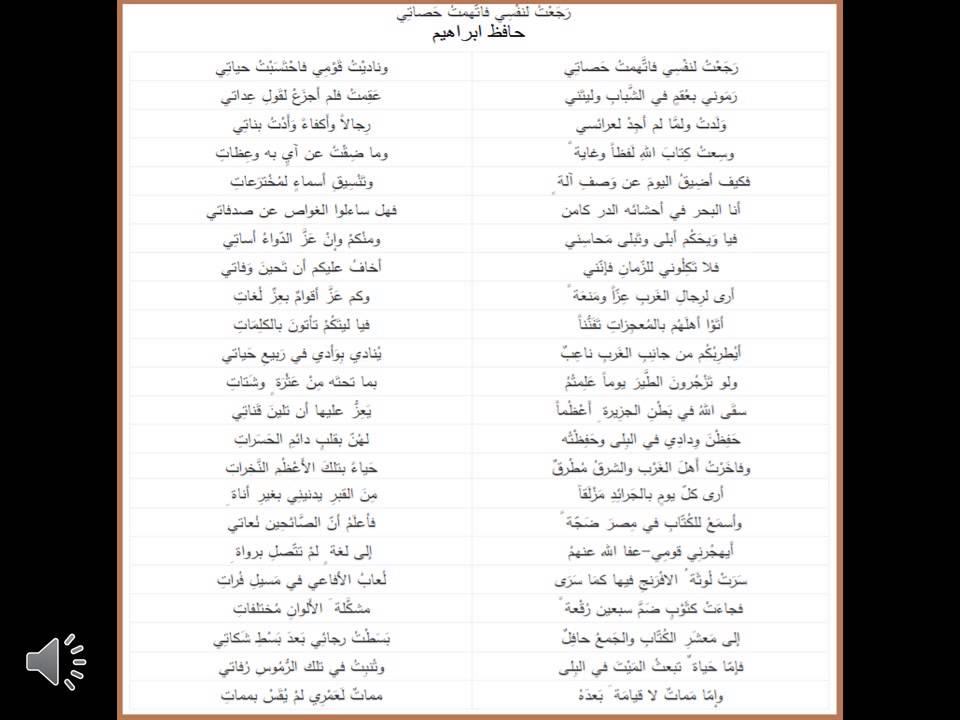 اللغة العربية شعر حافظ ابراهيم القاء عبده مطهر Youtube