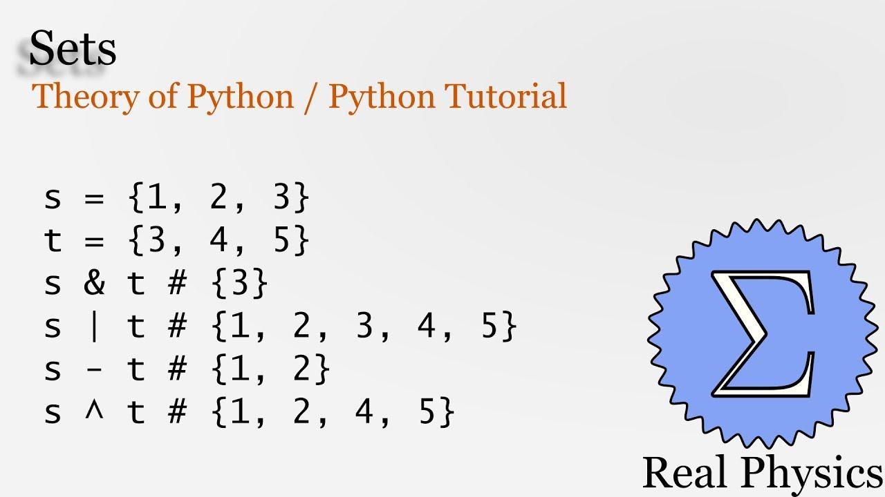 Sets (Theory of Python) (Python Tutorial)