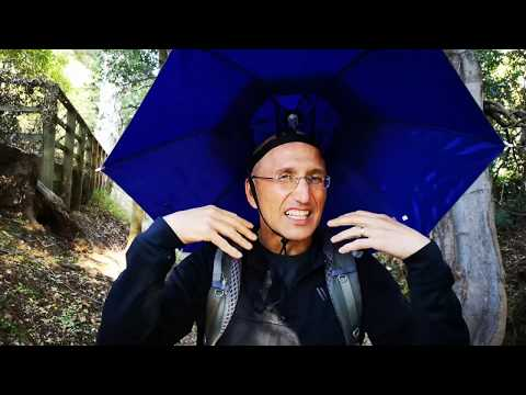 Review of the Hunter's Tail UV Hat Umbrella for fishing, hiking with poles