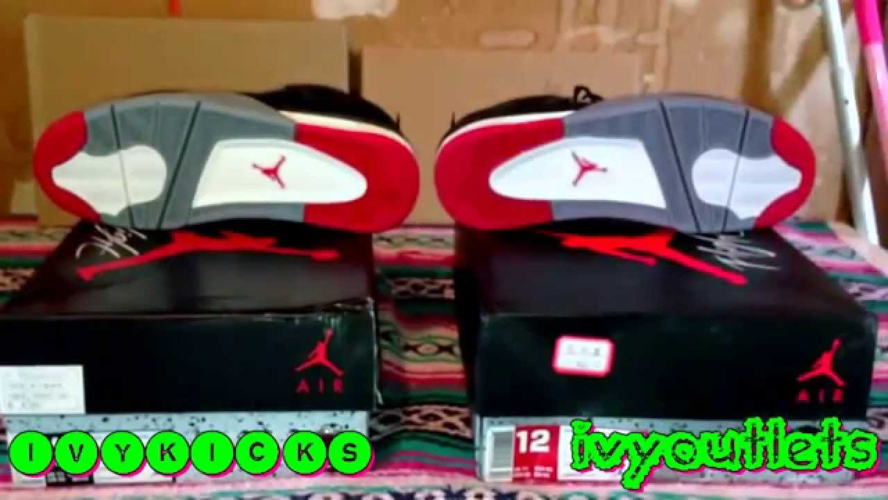 0bb056dcaf41 REAL VS FAKE  aaa replica BRED 4 vs unauthorized authentic air ...