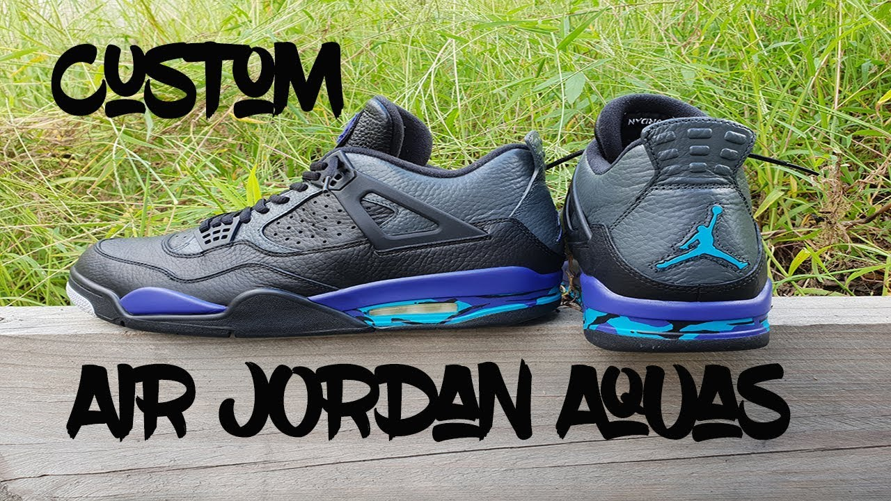 6ee00e7a6f9753 Custom Air Jordan 4 Aqua 8 Theme - YouTube