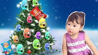 Cute Baby Learn Colors with Surprise Eggs | Learn Colors Christmas Tree Ornaments