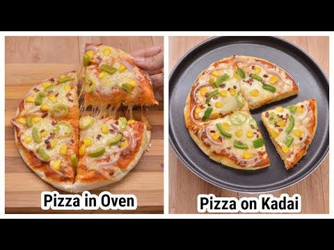Veg Pizza Recipe Without Oven, with oven | market style veg pizza | Dominos style kadai pizza