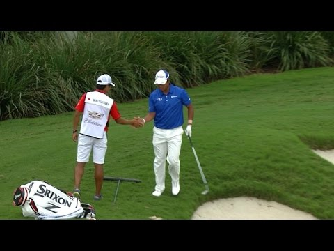 Hideki Matsuyama holes out from the bunker…again at Cadillac Championship