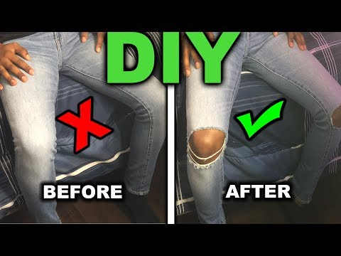 HOW TO: DISTRESSED DENIM JEANS EASY | DIY TUTORIAL