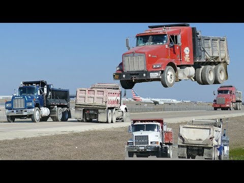 Construction Dump Trucks at DFW Airport - MACK, Kenworth, Peterbilt [4K] thumbnail