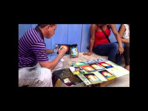 street artist in Cartagena, Columbia, picture in 2 minutes