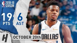 Dennis Smith Jr. Full Highlights Mavs vs Timberwolves 2018.10.20 - 19 Pts, 6 Ast, CLUTCH