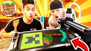 MAKING MINECRAFT BROWNIE PANCAKES WITH PANCAKE ROBOT!