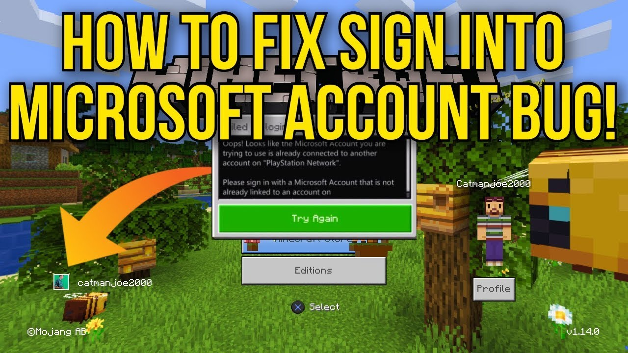Minecraft Bedrock Edition How To Fix Sign Into Microsoft Account Bug Ps4 Bedrock Edition Youtube