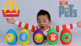 The Secret Life of Pets McDonalds Happy Meal Toys Play-Doh Surprise Eggs Ckn Toys