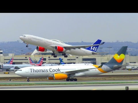 Scandinavian Airlines Airbus A330-300 [LN-RKU] Takeoff from Los Angeles LAX Airport!