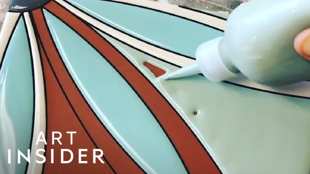 Handmade Ceramic Tiles Are Colorfully Painted - YouTube