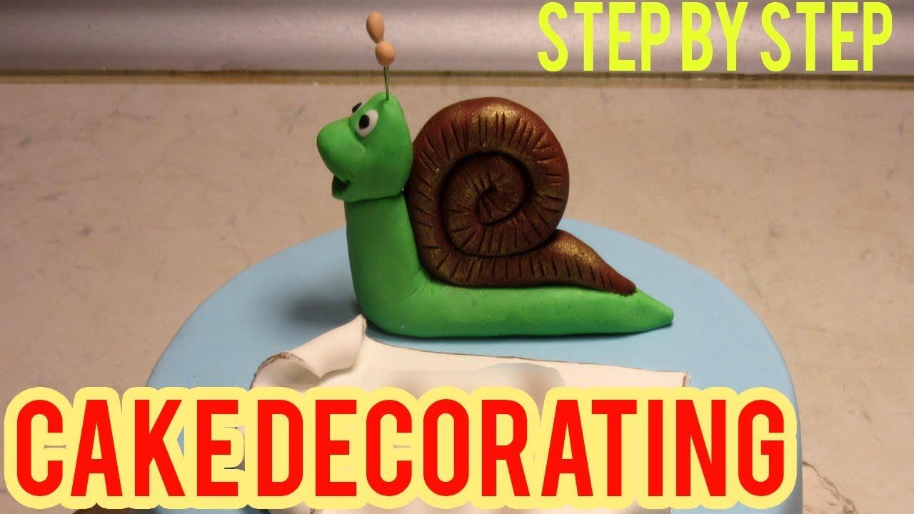 How To Make Birthday Cake Snail Cake Fondant Decoration Youtube