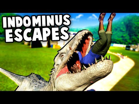 Indominus Rex ESCAPES!  Dinosaurs Break Out!  (Jurassic World Evolution T Rex vs Indominus Rex)