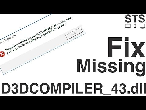 How To Fix  | D3dcompiler_43.dll |  Missing Error...