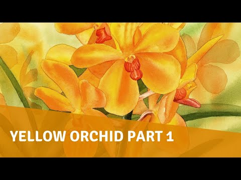 Watercolor Painting - Yellow Orchid Part 1 (Background and Leaves)